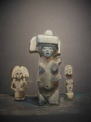 Human Sacrifice Art Painting - Ancient Meso American Idols by Diana Perfect