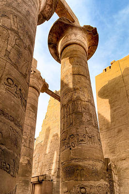 Egypt Photograph - Ancient Pillars Of Karnak Temple by Mark E Tisdale