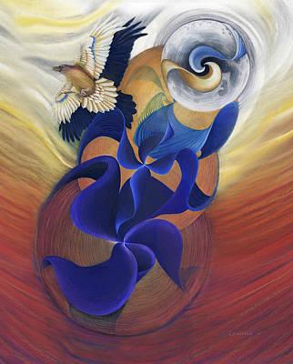 Blackbird Drawing - Ancient Raven Reborn by Robin Aisha Landsong