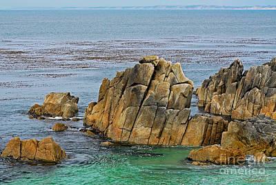Ancient Rocks At Pacific Grove Print by Susan Wiedmann