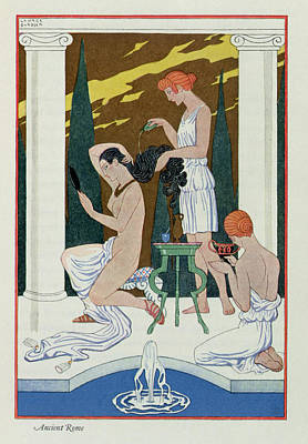 Bathing Painting - Ancient Rome by Georges Barbier