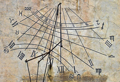 Aged Photograph - Ancient Sundial by Marcia Colelli