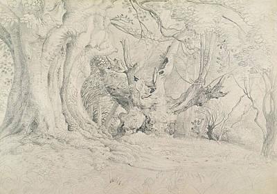 Fantasy World Painting - Ancient Trees Lullingstone Park by Samuel Palmer