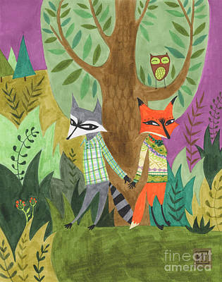 Raccoon Drawing - And So They Fell In Love by Kate Cosgrove