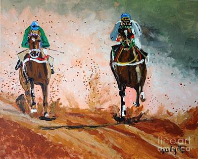 Horse Race Painting - And The Winner Is by Judy Kay