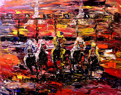 Pallet Knife Painting - And They're Off   by Mark Moore