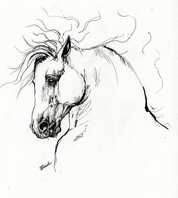 Andalusian Horse Drawing 1 Print by Angel  Tarantella