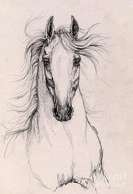 Andalusian Horse Drawing 4 Print by Angel  Tarantella