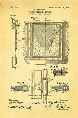 1903 Photograph - Anderson Windshield Wiper Patent Art 1903 by Ian Monk