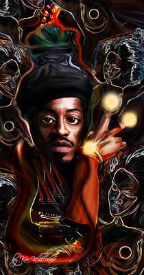Rap Digital Art - Andre The Martian 3000 Jimi Hendrix Edition by Kia Kelliebrew