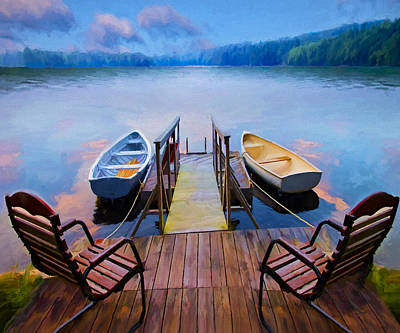Lakefront Painting - Andre's Dock by David Wagner