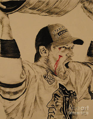 Hockey Drawing - Andrew Shaw by Tim Brandt
