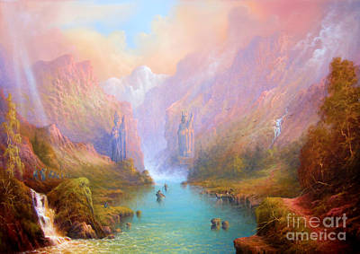 River Painting - Anduin The Great River by Joe  Gilronan