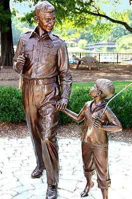 Andy And Opie Statue Nc Print by Frank Savarese