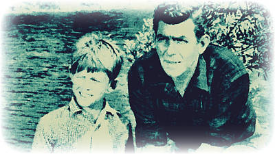 Andy And Opie Taylor Print by Paulette B Wright