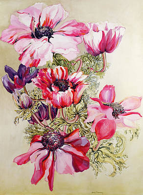 In Bloom Painting - Anemones by Joan Thewsey