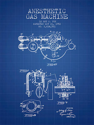 Anesthetic Gas Machine Patent From 1952 - Blueprint Print by Aged Pixel