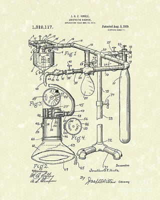 Patent Artwork Drawing - Anesthetic Machine 1919 Patent Art by Prior Art Design