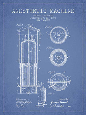 Anesthetic Machine Patent From 1903 - Light Blue Print by Aged Pixel