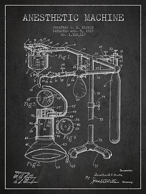Anesthetic Machine Patent From 1919 - Dark Print by Aged Pixel