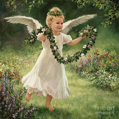 Angel And Garland Print by Laurie Hein