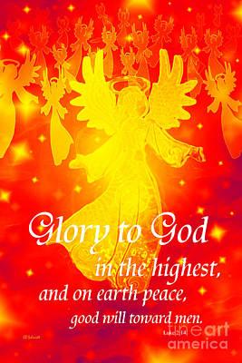 King James Bible Digital Art - Angel Announcement - Red by E B Schmidt