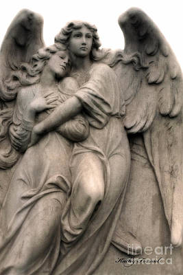 Angel Photography Guardian Angels Loving Embrace Print by Kathy Fornal