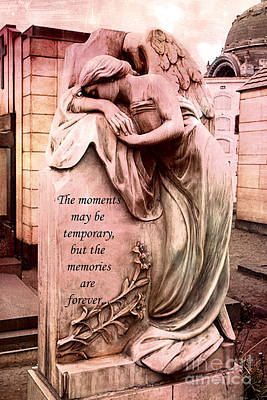 Angel Art - Memorial Angel Weeping Sorrow At Grave With Inspirational Message - Memories Are Forever Print by Kathy Fornal