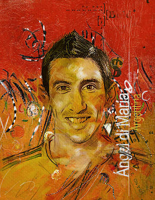 Qatar Painting - Angel Di Maria by Corporate Art Task Force