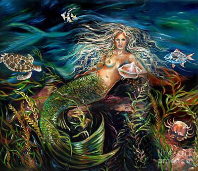 Angel Mermaids Ocean Painting - Angel Eyes by Linda Olsen