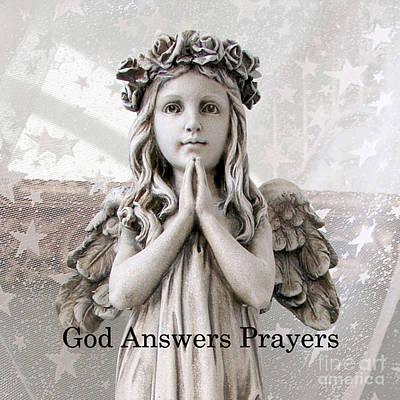 Angel Girl Praying - Christian Angel Art - Little Girl Praying Angel Art - God Answers Prayers Print by Kathy Fornal