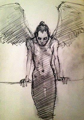 Angels Drawing - Angel by H James Hoff