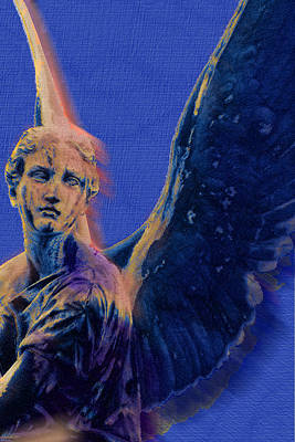 Religious Art Mixed Media - Angel In Blue And Gold by Tony Rubino