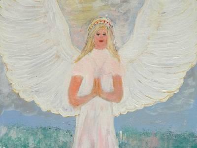 Prayer Painting - Angel In Prayer by Karen Jane Jones