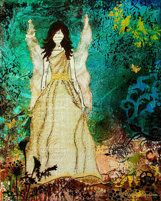 Symbolic Mixed Media - Angel In The Garden Inspirational Abstract Mixed Media Art by Janelle Nichol