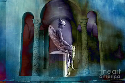 Angel Mourning Sadness - Haunting Fantasy Surreal Angel Art Teal Aqua Purple  Print by Kathy Fornal