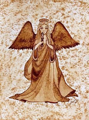 Angel Of Hope Original Coffee Painting Print by Georgeta Blanaru