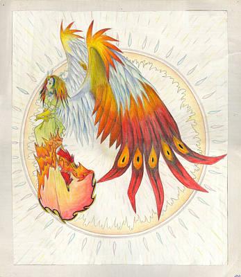 Pinion Painting - Angel Phoenix by Shawn Dall