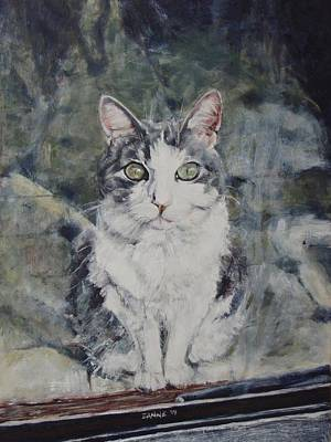Domestic Short Hair Cat Painting - Angel Pixie by Suzanne Paddock
