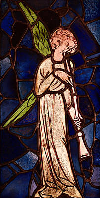 Relic Glass Glass Art - Angel Playing A Trumpet by English School