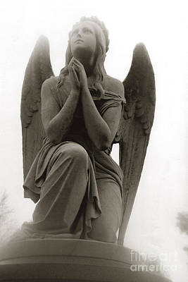 Crying Photograph - Angel Praying - Beautiful Dreamy Angel In Prayer - Praying Angel Looking To Heaven by Kathy Fornal