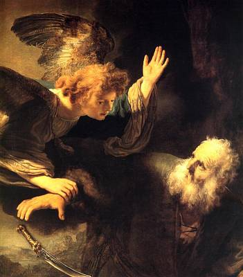Angel And Prophet Print by Rembrandt