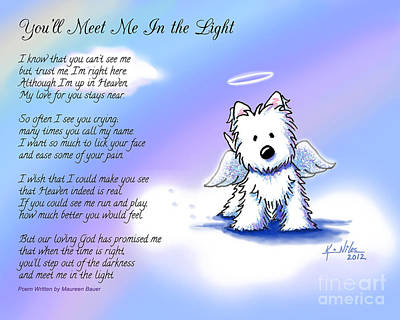 Westie Drawing - Angel Westie With Poem by Kim Niles