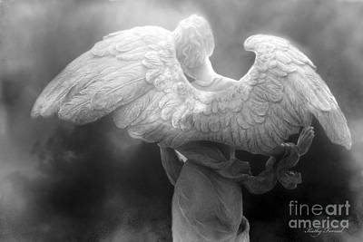 Angel Wings - Dreamy Surreal Angel Wings Black And White Fine Art Photography Print by Kathy Fornal