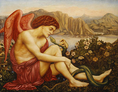 Looking Down Painting - Angel With Serpent by Evelyn De Morgan