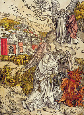 Religious Drawing - Angel With The Key Of The Abyss by Albrecht Durer or Duerer