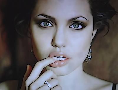 Angelina Jolie Print by Dan Sproul