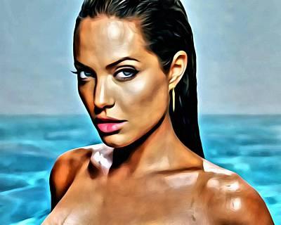 Angelina Painting - Angelina Jolie by Florian Rodarte