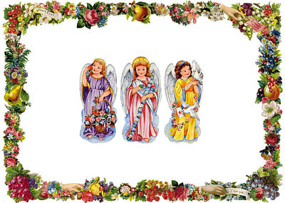 Christmas Cards Digital Art - Angels And Flowers by Munir Alawi