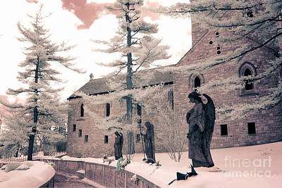 Angels And Religious Statues Winter Churchyard - Angel Statues With Jesus Churchyard Winter Scene Print by Kathy Fornal